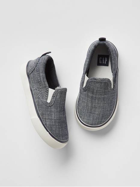Toddler Chambray Slip-On Sneakers