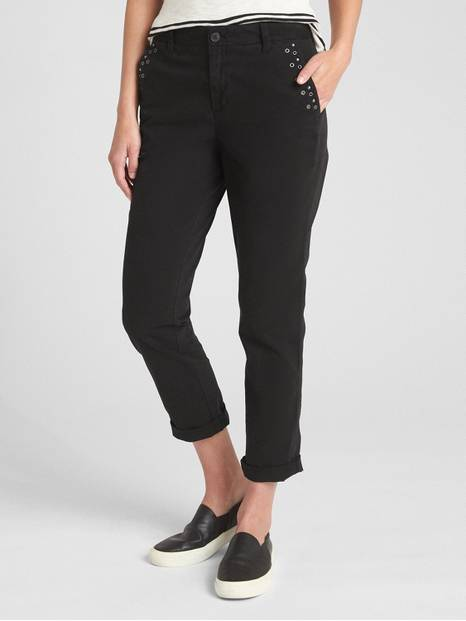 Girlfriend Chinos with Metal Stud Grommet Detail