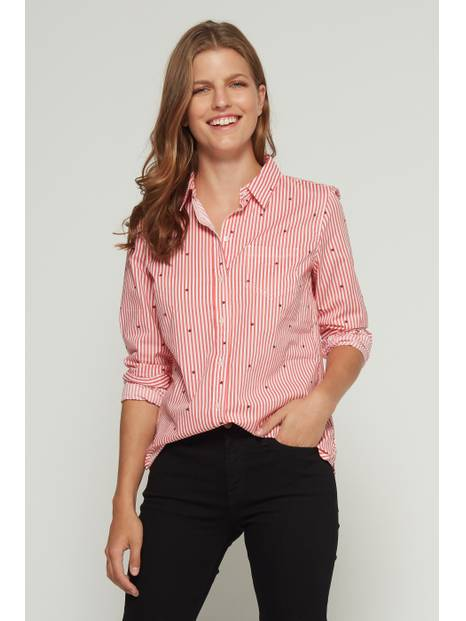 Stripe Star Long Sleeve Shirt in Poplin