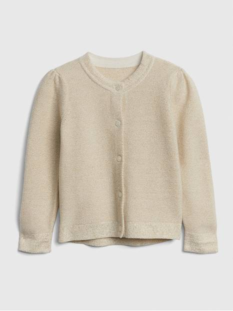 Toddler Metallic Thread Cardigan Sweater