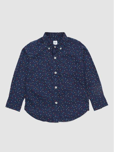 Poplin String-Lights Long Sleeve Shirt