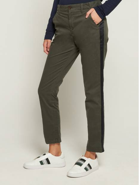 Girlfriend Satin-Stripe Khakis in Stretch Twill