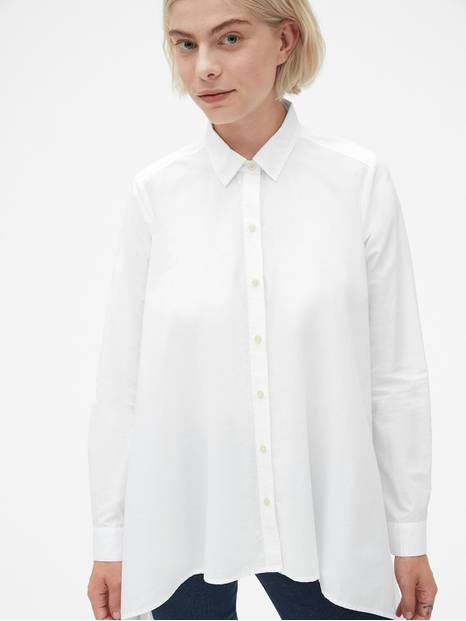Handkerchief Hem Shirt in Poplin