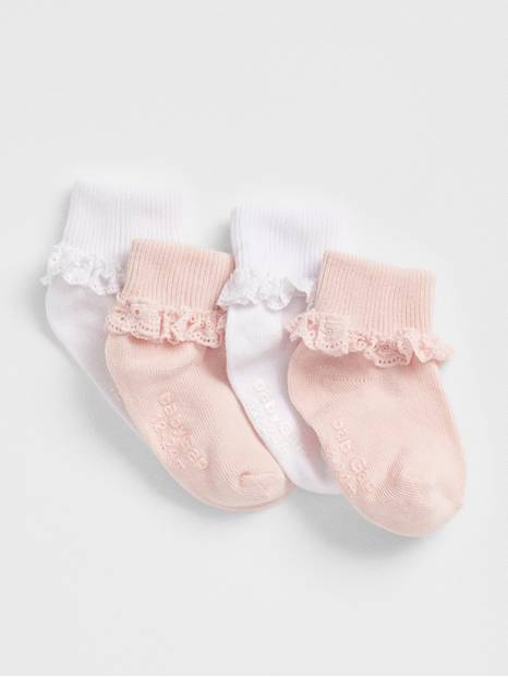 Toddler Lace Roll Crew Socks (4-Pack)