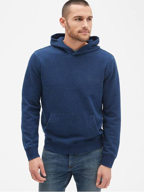 Indigo Pullover Hoodie in French Terry