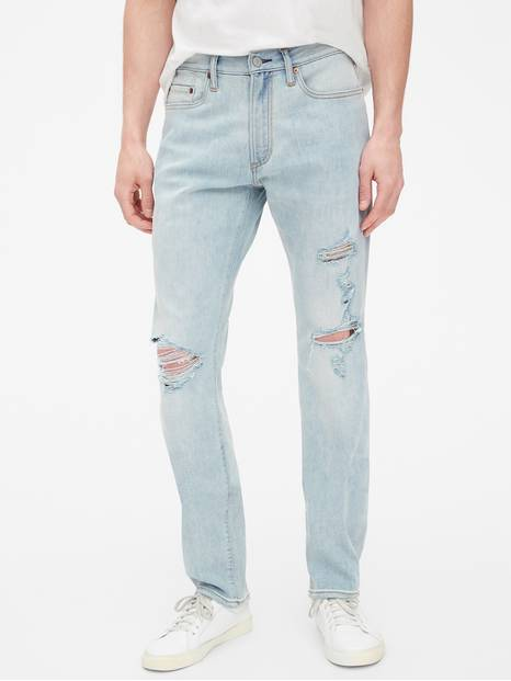 Wearlight Destructed Slim Jeans with GapFlex