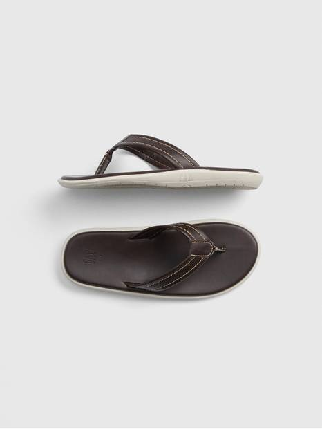 Kids Faux-Leather Flip Flops