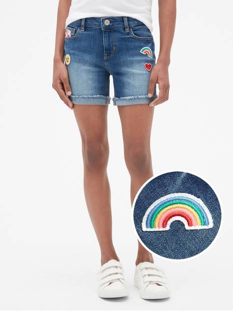 Kids Embroidered Patch Midi Shorts
