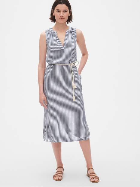 Stripe Split-Neck Midi Shirtdress with Tassel Belt