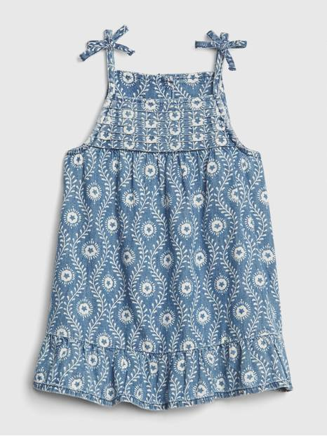 Baby Denim Print Flutter Dress