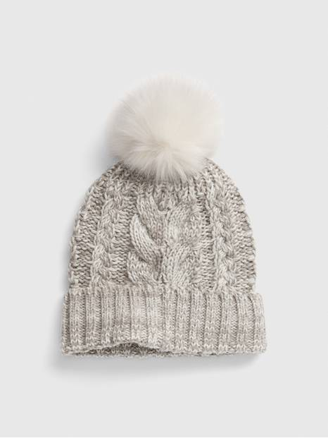 Kids Cable-Knit Pom Beanie