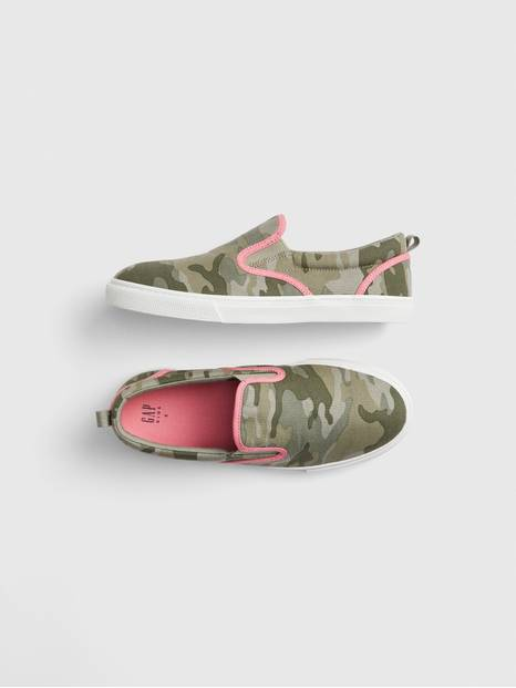 Kids Camo Slip-On Sneakers