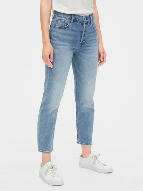High Rise Cheeky Straight Jeans with Secret Smoothing Pockets