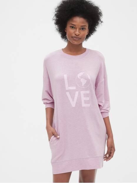 Graphic Sweatshirt Tunic Dress in Modal