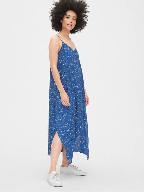 Cami Floral Print Handkerchief Midi Dress
