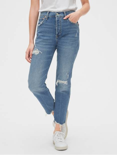 High Rise Rip & Repair Cheeky Straight Jeans with Secret Smoothing Pockets