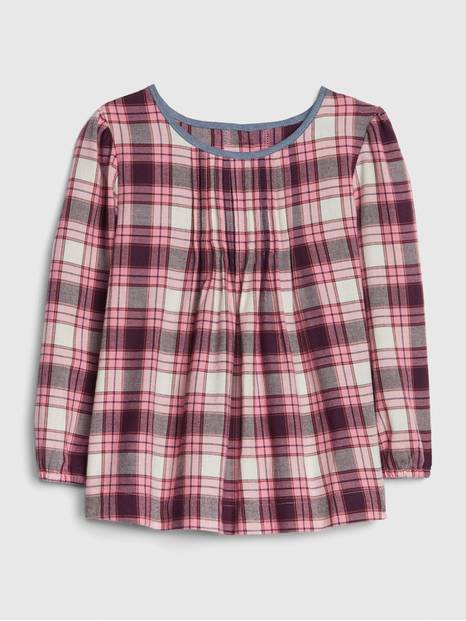 Toddler Plaid Pleated Top