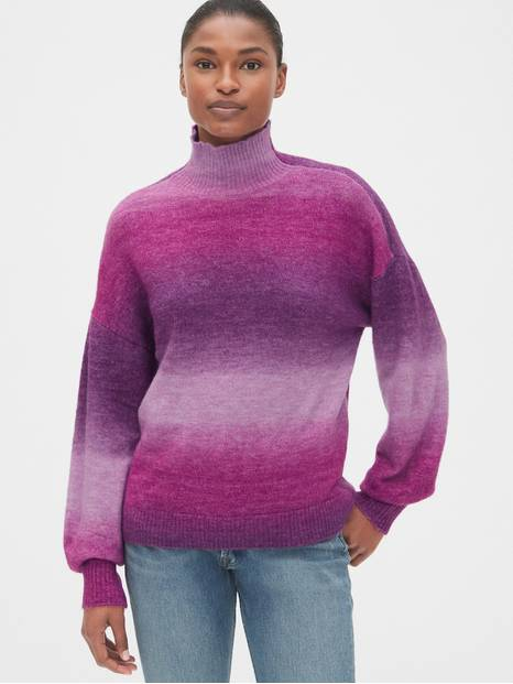 Ombre Blouson Sleeve Turtleneck Sweater