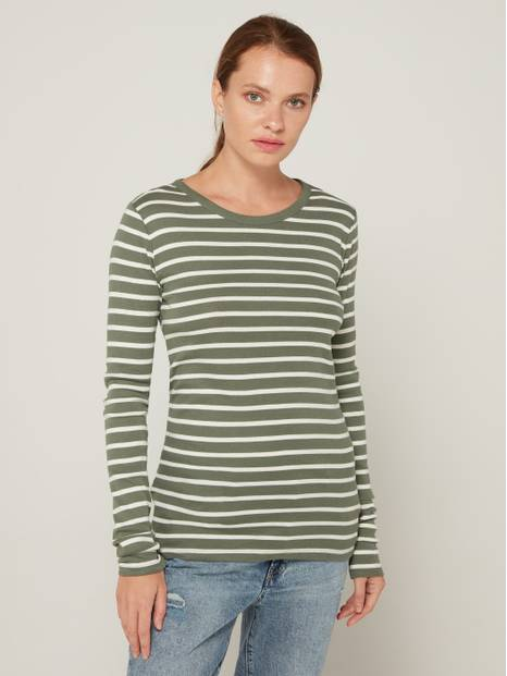 Favorite Striped Crewneck Long Sleeve T-Shirt