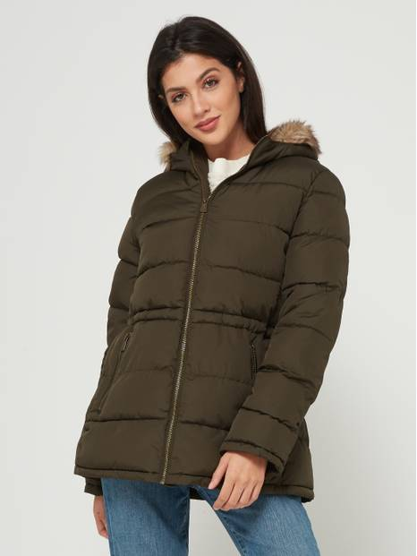 Mid-Weight Puffer Jacket with Faux-Fur Trim