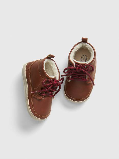 Baby Sherpa-Lined Leather Booties