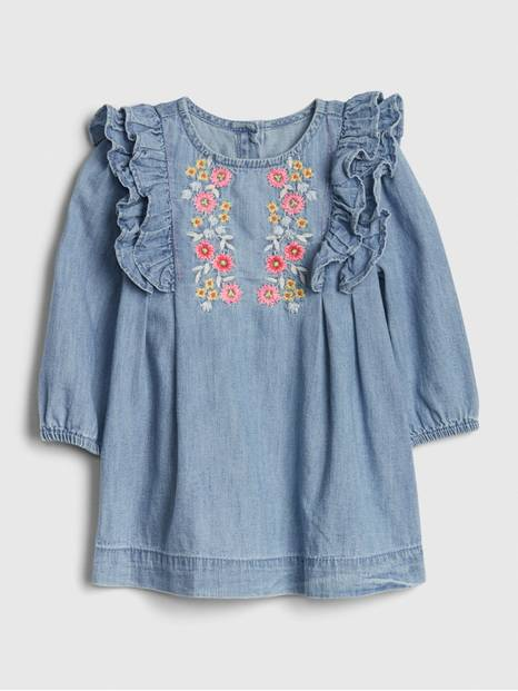 Baby Denim Embroidered Ruffle Dress