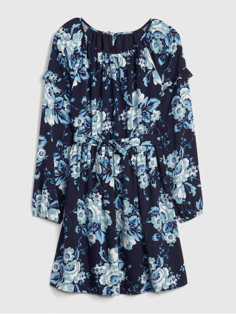 Kids Floral Tie-Belt Dress