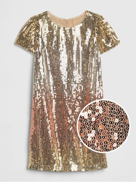 Kids Ombre Sequin Dress
