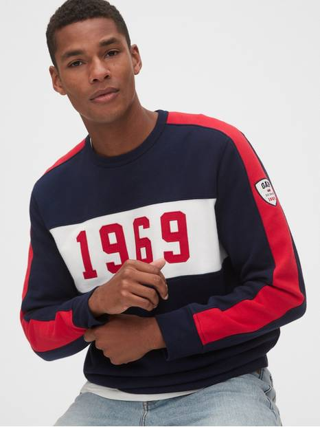 Gap Logo Pieced Crewneck Sweatshirt