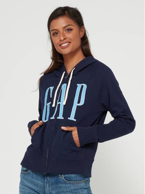 Oversize Embroidered Logo Full-Zip Hoodie