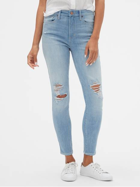 High Rise Distressed Legging Skimmer Jeans