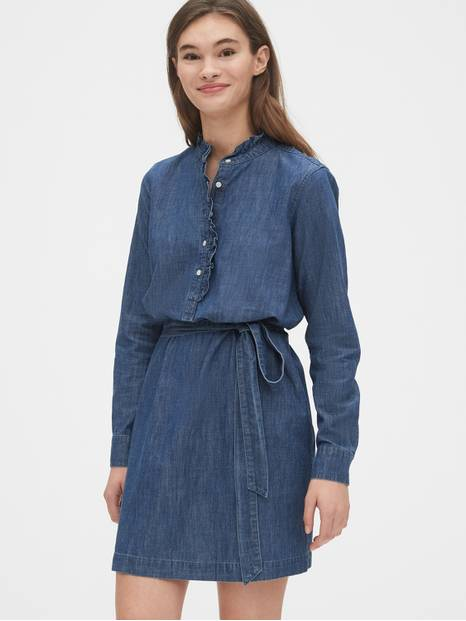 Denim Ruffle-Neck Shirtdress