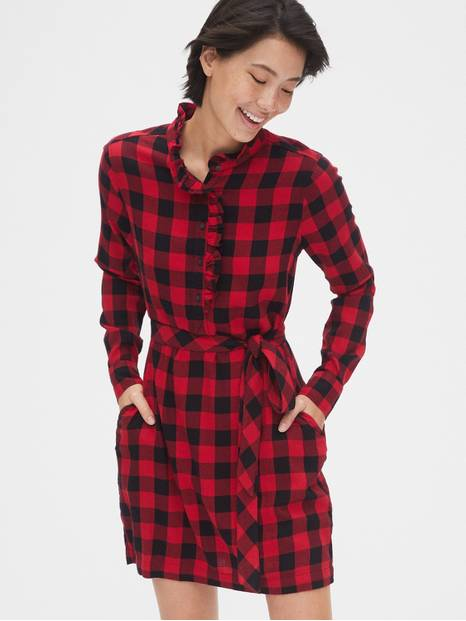 Plaid Ruffle-Neck Popover Shirtdress