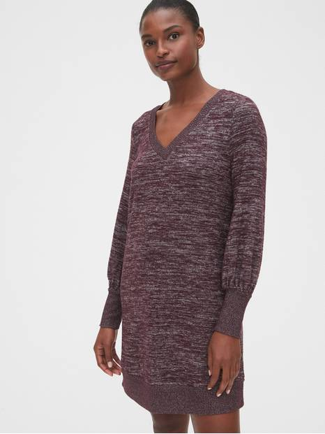Softspun Blouson Sleeve V-Neck Dress