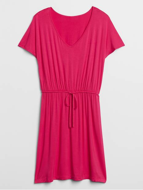 Flutter Sleeve Tie-Waist Dress in Rayon