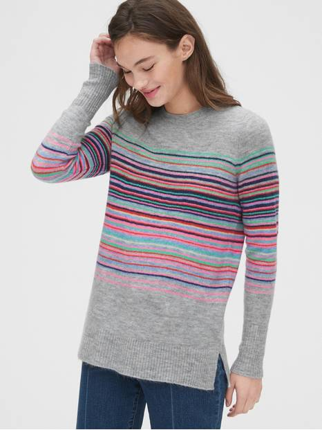 Crazy Stripe Crewneck Tunic Sweater