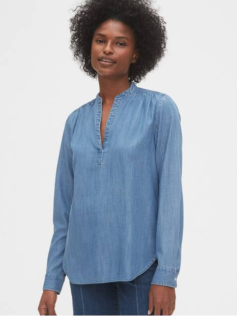 Denim Popover Shirt in TENCEL&#153
