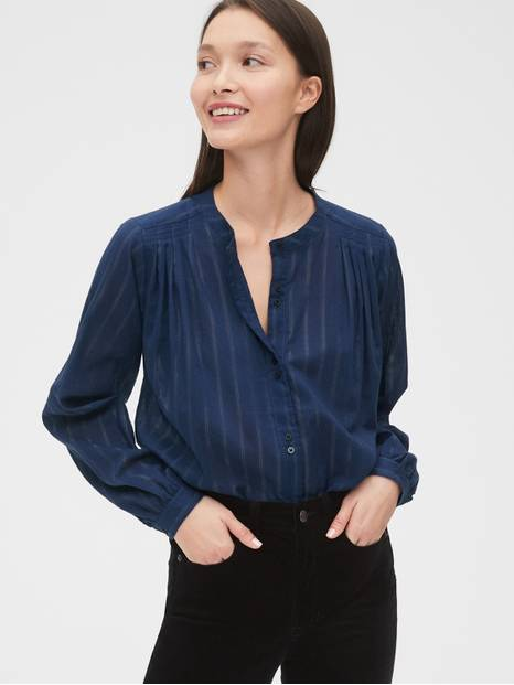 Textured Stripe Pleated Shirt