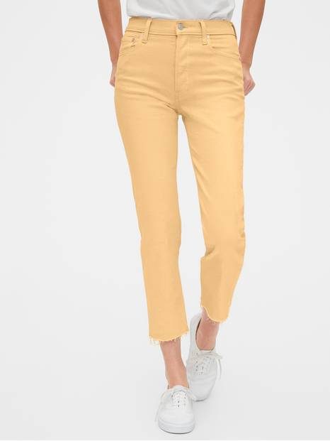 High Rise Cheeky Straight Jeans with Raw Hem