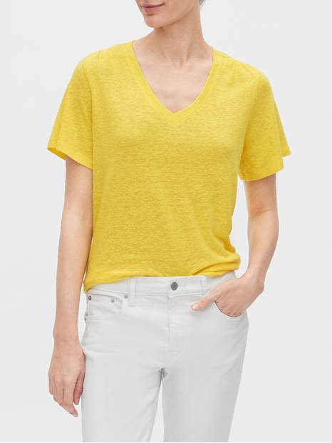 V-Neck T-Shirt in Linen