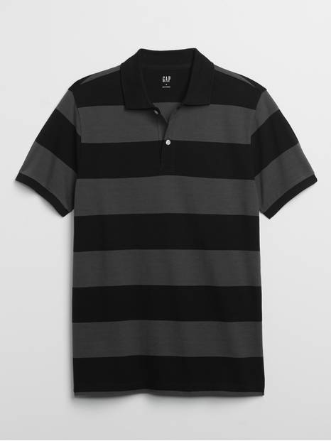 Stripe Short Sleeve Pique Polo