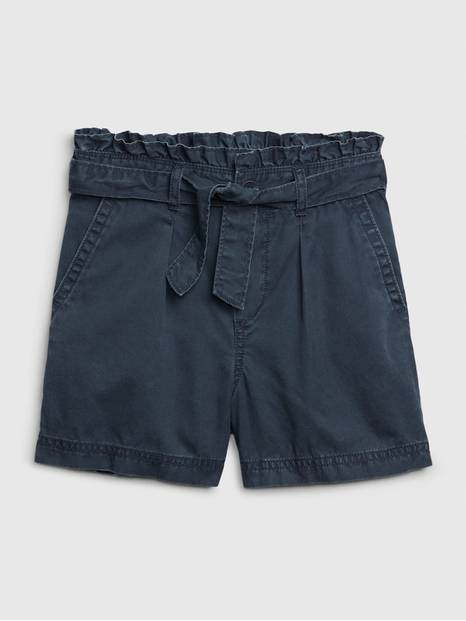 Kids Paperbag-Waist High Rise Shorts