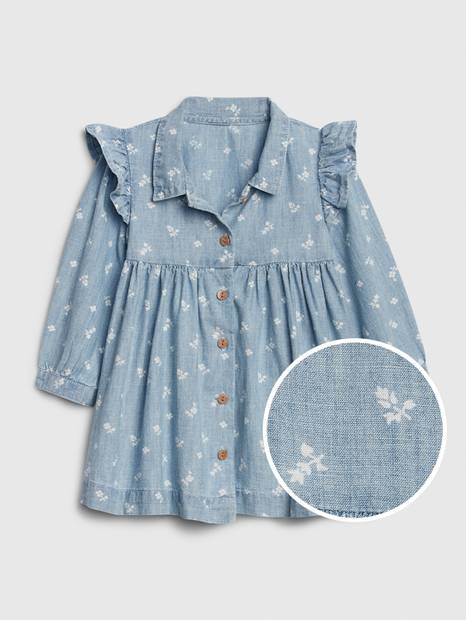 Baby Floral Ruffle Chambray Dress