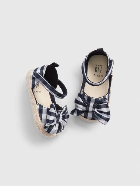 Baby Gingham Bow Espadrille Sandals