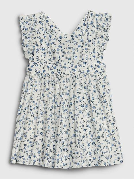 Baby Ivory Forest Print Apron Dress