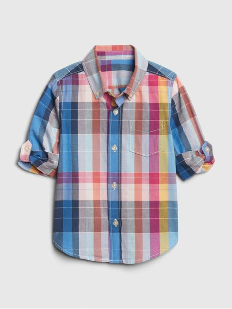 Toddler Poplin Plaid Convertible Shirt