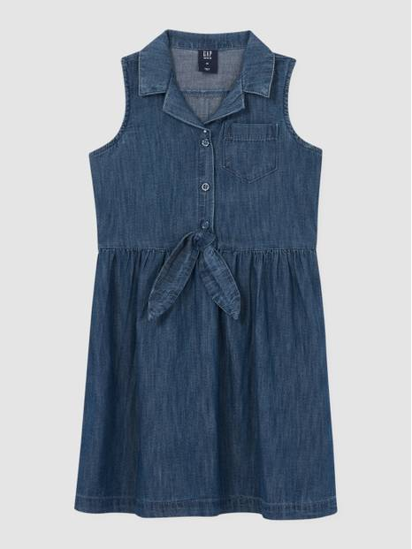 Kids Denim Sleeveless Shirt Dress