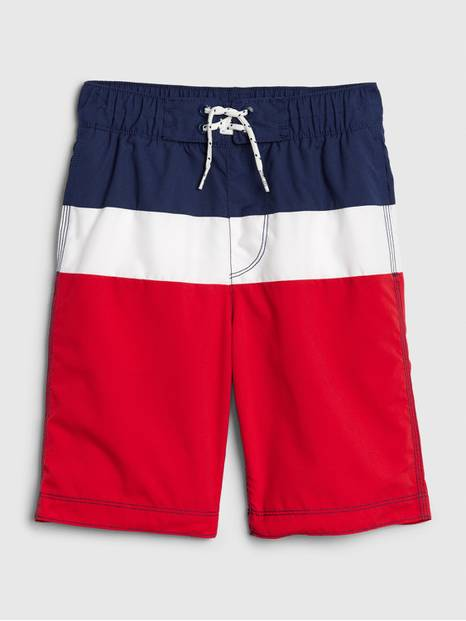 Kids Red White And Blue Board Shorts