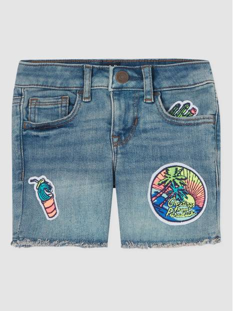 Kids Appliqué Badge Raw-Hem Shorts