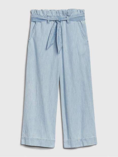 Kids High Rise Wide-Leg Crop Jeans